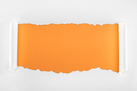 ragged textured white paper with curl edges on orange background Stock Photo