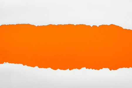 ripped white textured paper with copy space on orange background