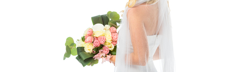 panoramic shot of bride holding beautiful wedding bouquet isolated on white