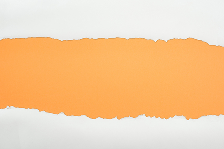 ragged white textured paper with copy space on orange background Фото со стока