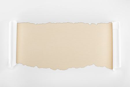 ripped white textured paper with curl edges on ivory striped background 版權商用圖片