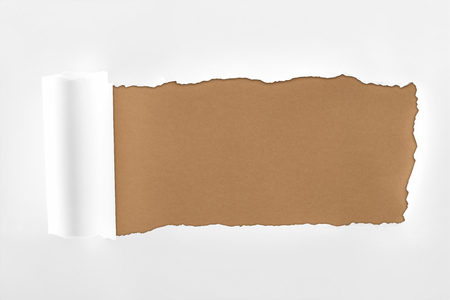 tattered textured white paper with rolled edge on brown background 스톡 콘텐츠 - 120136882