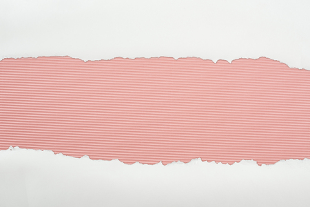 ripped white textured paper with copy space on pink striped background