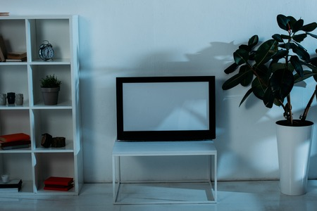 Cupboard, green plants and flat-screen tv with blank screen in room