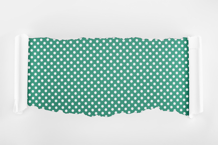 ripped white textured paper with curl edges on green polka dot background