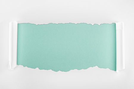 ragged textured white paper with curl edges on light blue background Banco de Imagens