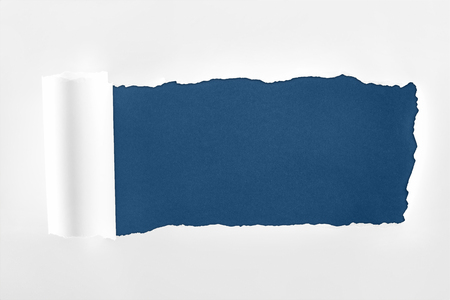 ragged textured white paper with rolled edge on dark blue background