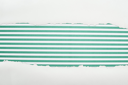 ragged white textured paper with copy space on green striped background