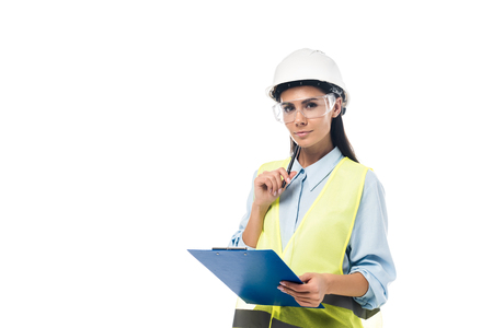 Engineer in hardhat holding clipboard isolated on white