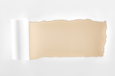tattered textured white paper with rolled edge on beige background Banco de Imagens