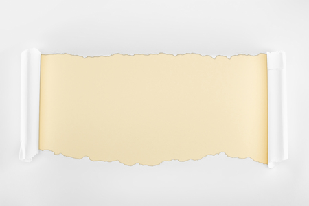 ripped textured white paper with curl edges on beige background Banco de Imagens