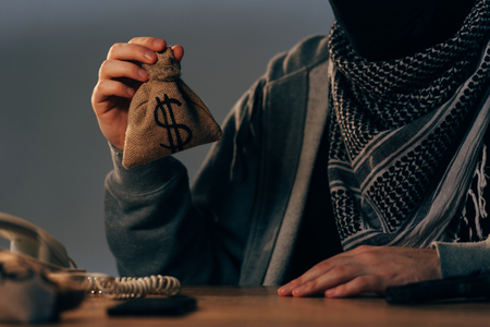 Cropped view of terrorist in keffiyeh scarf holding small money bag with dollar sign