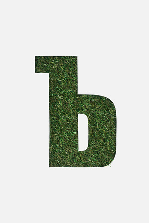 top view of cyrillic letter with green natural grass on background isolated on white