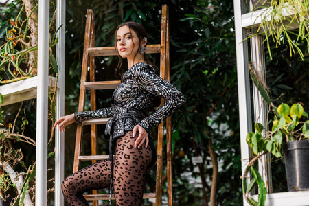 18d788285d6 Sexy woman in black pantyhose standing near wooden ladder in orangery Stock  Photo