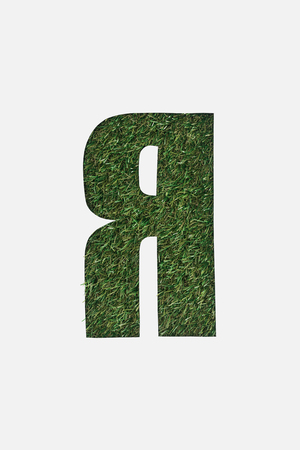 cut out cyrillic letter with green grass on background isolated on white