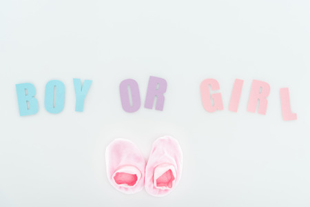 top view of pink booties and boy or girl lettering isolated on white with copy space