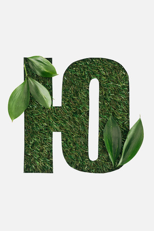 cut out letter from cyrillic alphabet made of natural green grass with leaves isolated on white