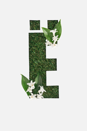 top view of cyrillic letter with natural grass on background and white spring flowers with green leaves isolated on white Banque d'images - 120118594