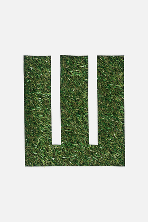 top view of letter from cyrillic alphabet made of green grass isolated on white Banque d'images - 120159269