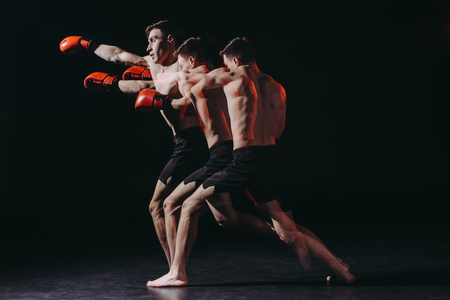 sequence shot of shirtless muscular boxer in boxing gloves doing punch