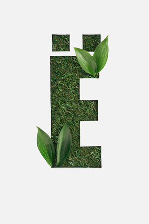 top view of cyrillic letter with green grass on background and bright leaves in corners isolated on white