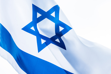 close up of national flag of israel isolated on white