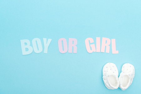 top view of booties and boy or girl lettering on blue background with copy space