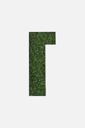 cut out cyrillic letter with fresh green grass on background isolated on white Stock Photo