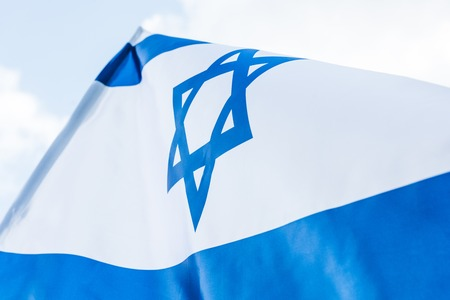 low angle view national israel flag with star of david
