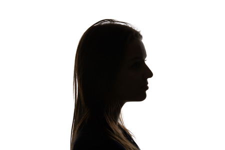 Silhouette of woman with straight hair isolated on white Stockfoto - 120206383