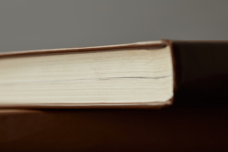 Selective focus of brown books isolated on grey Stock fotó
