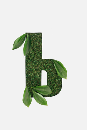 letter from cyrillic alphabet of green grass with leaves isolated on white Stock Photo