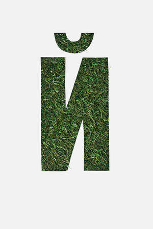 top view of cyrillic letter with fresh grass on background isolated on white