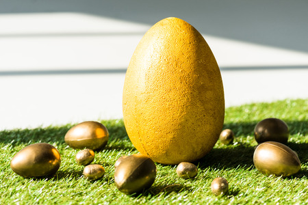 yellow ostrich egg and golden chicken and quail eggs on green grass surface Imagens