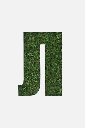 cut out letter from cyrillic alphabet made of natural grass isolated on white