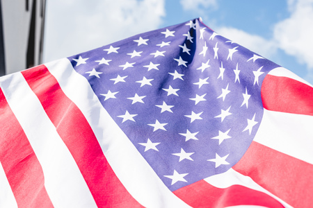 low angle view of stars and stripes on national flag of america Stock fotó