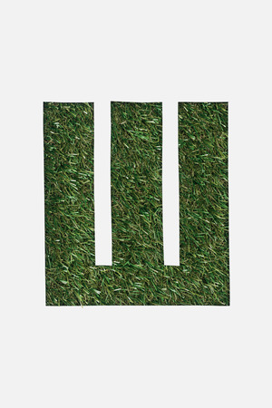 top view of letter from cyrillic alphabet made of green grass isolated on white