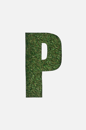 top view of cut out P letter on green grass background isolated on white