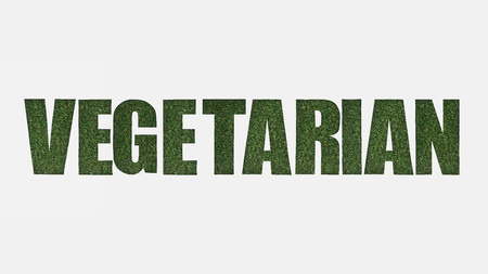 top view of cut out vegetarian lettering on green grass isolated on white Banco de Imagens
