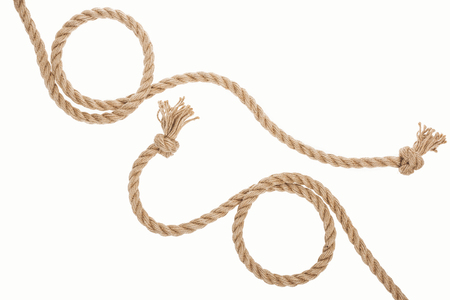 brown curled ropes with knots isolated on white