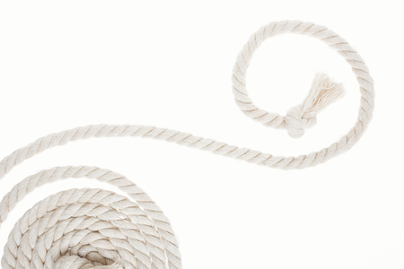 white and long rope with knot and curls isolated on white
