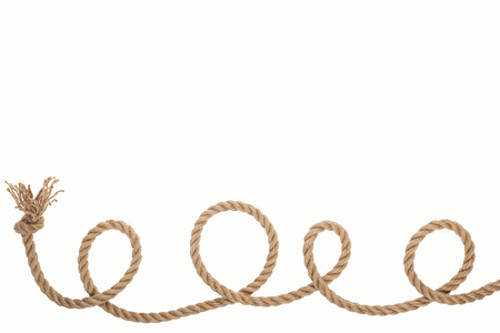 long curled and brown rope with knot isolated on white