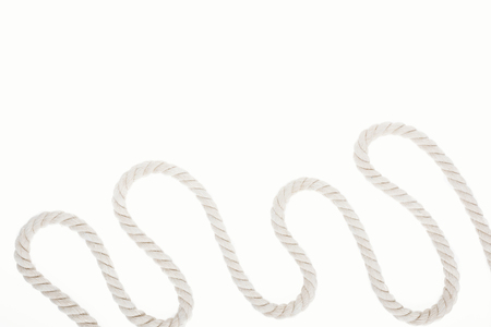 white waved and long rope isolated on white 版權商用圖片