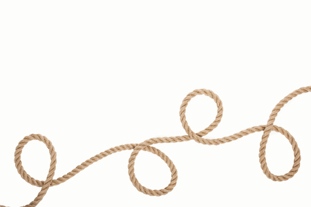 long and brown rope with curls isolated on white