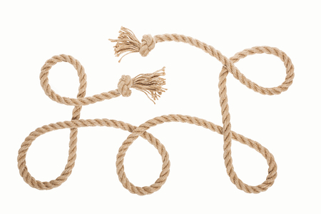 long brown rope with knots and curls isolated on white