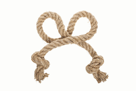 thick jute and twisted rope isolated on white