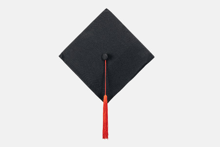 Black academic cap with red tassel isolated on white Stok Fotoğraf