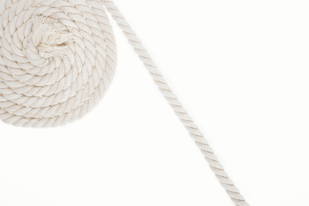 white, curled and long rope isolated on white