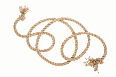 long jute rope with knots and curls isolated on white