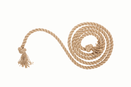 long curled rope with knots isolated on white